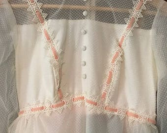 Vintage Wedding Dress with Swiss Polka Dots and Ink Velvet Ribbon