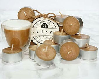coffee shop scented soy tea lights