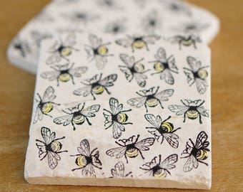 Bumble Bee Coaster// Marble Coasters// Bee Decor//