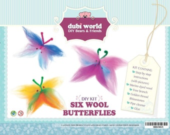 DIY Craft Wool Kit SIX Wool Butterflies Decoration Unique Gift & Family Time
