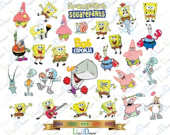 Baby Spongebob Squarepants SVG Spongebob Digital Download Clipart Shirt Spongebob Birthday invitation svg eps png dxf files cameo cricut