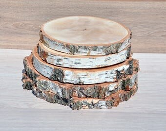 8-11.5'' birch wood slices for centerpieces Large wood slice for cake stand Rustic wedding decorations Wood slabs Wood rounds Wooden platter