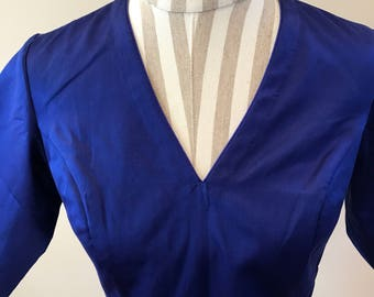 Raw mango silk royal blue blouse