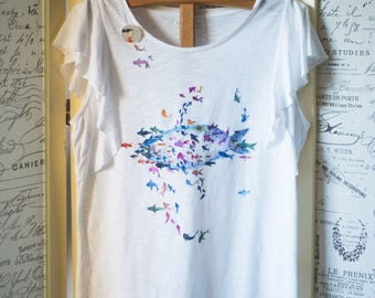 Hand painted t-shirt Minnows