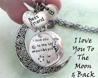 Best Friend, I Love You To The Moon And Back Necklace, Initial, All Sizes, Girls, Teens, Women, Pretty, Elegant Jewelry Birthday Gift
