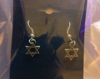 Star of David Bronze Earrings