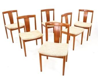 Mid century Set of 6 Vamdrup Stolefabrik Teak Dining Chairs