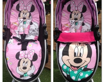 Minnie mouse pram cosy toes/foot muff and liner