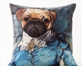 Regal Pug pillow cover