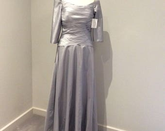 Vintage 1990's silver taffeta off the shoulder gown