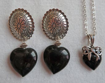 Set of Onyx and Sterling Silver Necklace and Earrings ~ Hearts ~ Estate Jewelry