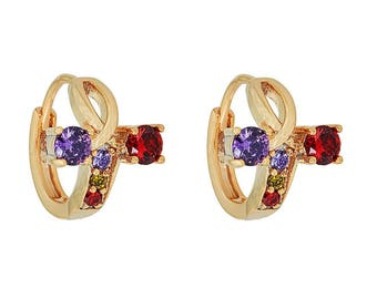 14k Gold Filled 'T' Red and Purple Sided Diamond Earring