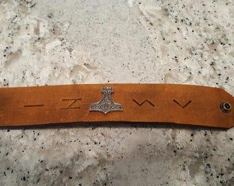 Handmade leather cuff bracelet w/ Mjolnir / Thor's hammer & runes #2