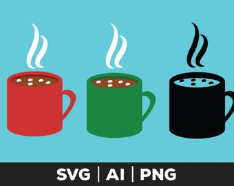 hot chocolate svg - coffee cup svg, silhouette svg, coffee mug vector, cricut files, coffee mug clipart, food svg, silhouette, hot cocoa svg