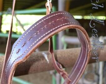 Latigo leather noseband with buckstich