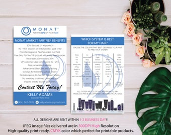 BOTH CARDS, Monat Market Partner Benefits, Monat Systems, Custom Monat Hair Care Card, Fast Free Personalization, Monat Business Cards MN10