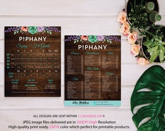 BOTH CARDS, Piphany Sizing Chart, Piphany Price List Poster, PERSONALIZED Piphany Marketing Cards, Printable Card, Digital file TP06