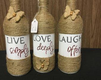 Live Love Laugh glass centerpiece