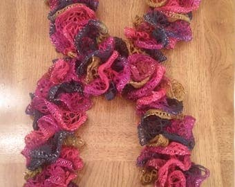 Hand Knitted Sparkly Warm Tri-Colored Ruffle Scarf with Silver Metallic Edging