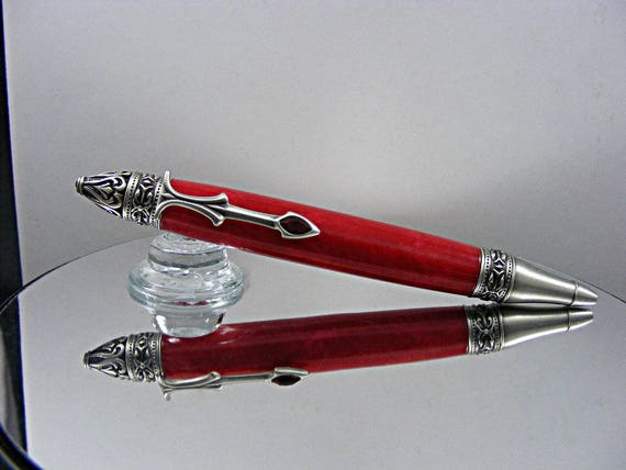 Gothic Ink Pen in Antique Pewter and Acrylic