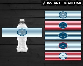 Instant Download - Nautical Water Bottle Label Printable Baby Shower Red Blue Stripes Anchor It's a Boy Party Printable DIY - Digital File