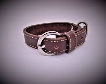 Medium - Leather Dog Collar - Handmade - Mongolian Leather