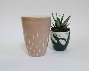 big mug without handle, pink, tumbler, dots, tea or coffee, dusty rose, handmade, perfect gift, housewarming