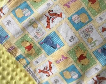 Winnie the pooh baby blanket-100 acre woods blanket-winniethepooh nursery-toddler minky blanket-Winnie thepooh bedding-winniethepooh blanket