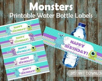 Monsters Water Bottle Labels, Monsters Favor tags, Monsters Party Supplies, Monsters Printable Water Labels, Monsters Birthday Party Favors