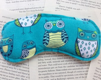 Rice Eye Mask - Turquoise Owls