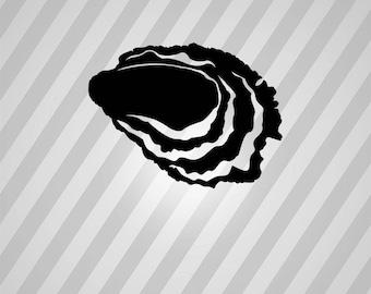 oyster Silhouette - Svg Dxf Eps Silhouette Rld RDWorks Pdf Png AI Files Digital Cut Vector File Svg File Cricut Laser Cut