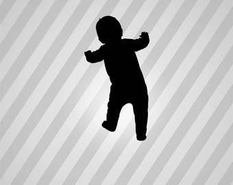 toddler Silhouette - Svg Dxf Eps Silhouette Rld RDWorks Pdf Png AI Files Digital Cut Vector File Svg File Cricut Laser Cut