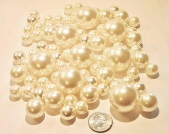 Elegant  All Ivory Pearls/Champagne Pearls Vase Fillers in Jumbo & Assorted Sizes for Centerpieces