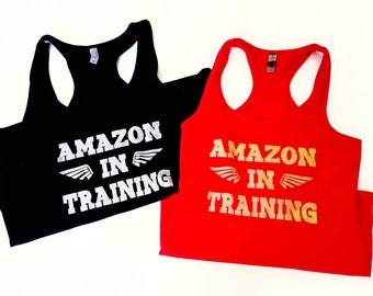 Amazon in Training Racerback Tank Top, Wonder Woman Inspired T-shirt, Fun Nerdy Woman's Tank Top, Geek Tee, Wonder Woman Active Wear