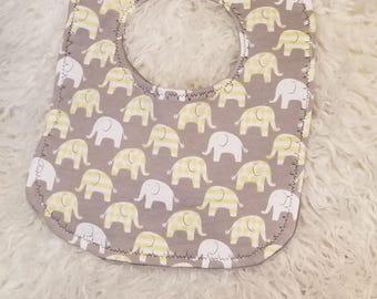 Elephant bib, Baby bib, Gender neutral bib Baby, Shower gift, Newborn gift, Elephant, Yellow, Gray, White, Stripes, Minky
