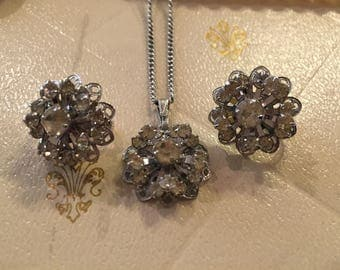 Vintage Sarah Conventry Symphony Cluster Necklace and Earrings Set Rhinestones