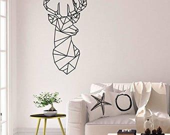 Wall Sticker Wall Sticker-* * * geometric deer/head/antlers * * *