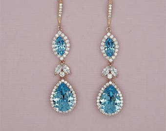 Aquamarine Blue Earrings Blue Bridal Earrings Aquamarine wedding Earrings something blue, Swarovski Rhinestone Earrings for Brides
