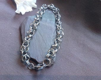 Handmade Silver Chainmaille Byzantine Weave Bracelet for M