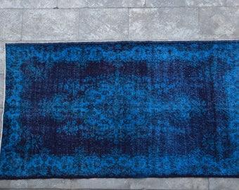 Free Worldwide Shipping ! Blue Overdyed Oushak Rug Isparta Rug Blue  Boho Rug Handmade Rug  Overdyed Rug Lowpile Rug Handwoven Rug H75
