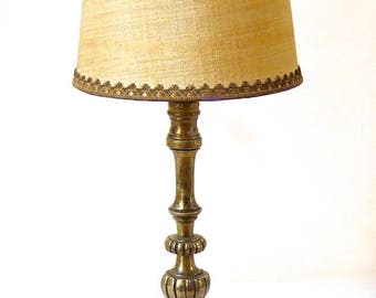 CLASSIC - Table lamp - bronze and fabric - unique piece.