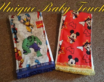 Cartoon burp cloth (Sold by sets ONLY)