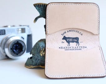 Handmade natural leather wallet card case perfect for your edc