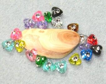 set 25 bead heart multicolor 8 * 8 mm