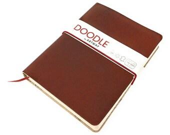 Artway Doodle - Brown Leather Journal/Sketchbook - 150gsm Cartridge Paper -  175 x 125mm - 82 Sheets (164 Sides) - Chestnut