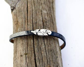 Natural gray leather bracelet
