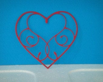 Heart cut in red heart for scrapbooking and card