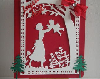 Kit card Christmas, mother and her baby in the garden to make you even