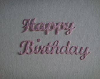 "Cut out ""Happy Birthday"" in 2 pieces pink"