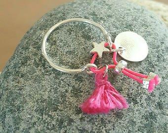 silver ring adjustable Pompom and tassel